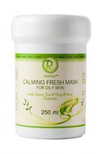 Успокаивающая и освежающая маска для жирной кожи с экстрактами зелёного чая шишек хмеля и киви